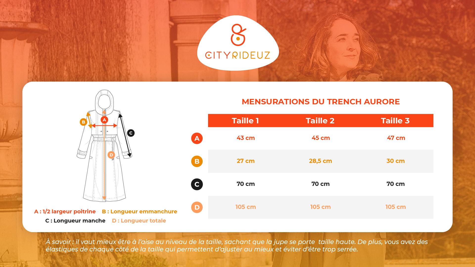 Guide des tailles / Mensuration / Trench Aurore / Francais